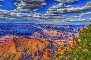 Картинки США Гранд-Каньон парк Парки Горы Небо Облака HDR