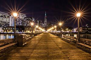 Картинка Штаты Здания Мосты Сан-Франциско Ночь Уличные фонари Скамья