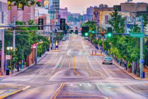 Обои США Здания Дороги Улице University Heights Missouri Города