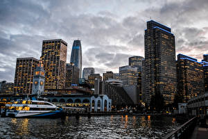 Фотографии Америка Дома Небоскребы Реки Причалы Сан-Франциско