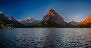 Фотографии Штаты Горы Озеро Рассветы и закаты Swiftcurrent Lake Montana Природа