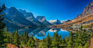 Фотография Штаты Парки Горы Озеро Пейзаж Ель St Mary Lake Glacier National Park Природа