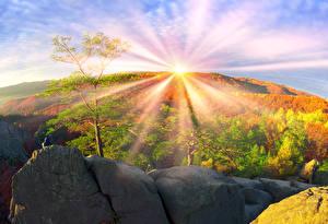 Картинки Украина Осенние Горы Камни Закарпатье Солнце Деревья Лучи света Природа