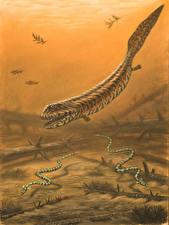Фотографии Подводные Древние животные Рисованные Crassigyrinus, Phlegethontia Животные