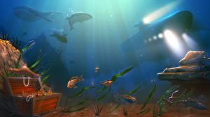 Картинки Подводный мир Подводные лодки Рыбы Клад Фантастика