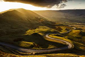 Фотографии Великобритания Дороги Рассветы и закаты Холмы Mam Tor Castleton Derbyshire