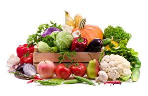 Картинки Овощи Фрукты Яблоки Томаты Груши Грибы Перец Белый фон Пища