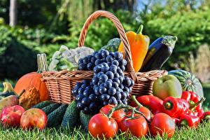 Фотографии Овощи Фрукты Виноград Томаты Яблоки Перец Корзина Продукты питания
