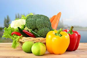 Фотографии Овощи Перец Корзина Пища