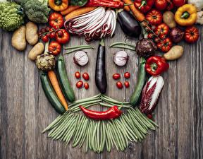 Картинка Овощи Помидоры Перец овощной Горох Картошка Доски Дизайн