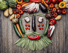 Картинка Овощи Томаты Перец Горох Картошка Доски Дизайн