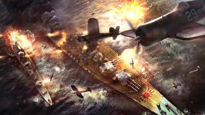 Фотография War Thunder Самолеты Корабли Японские Американские Battle of Okinawa Игры