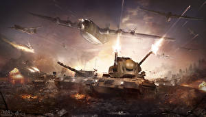 Фотографии War Thunder Самолеты Танки Выстрел Игры