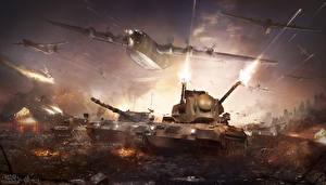 Фотографии War Thunder Самолеты Танки Выстрел