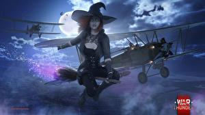 Картинки War Thunder Самолеты Ведьма Хеллоуин Шляпа Ночные Луна Фэнтези Девушки