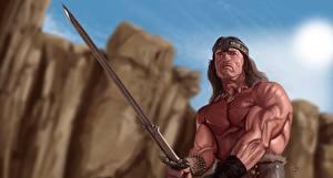 Фото Воители Рисованные Arnold Schwarzenegger Мечи Conan the Barbarian Фантастика