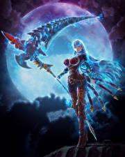 Картинки Воины Ночные Луна Коса (оружие) Valkyria: Azure Revolution Девушки Фэнтези