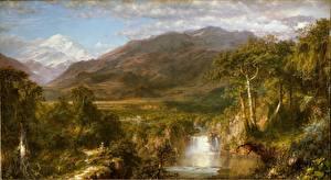 Фотография Водопады Горы Живопись Frederic Edwin Church, Heart of the Andes Природа