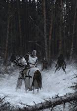 Картинка Волк оборотень Рыцарь Лошади Samogitia 1409 Фэнтези