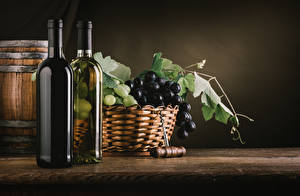 Фото Вино Виноград Корзины Бутылки Продукты питания