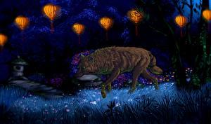 Картинка Волки Рисованные Ночные