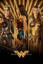 Картинки Чудо-женщина (фильм) Чудо-женщина герой Воины Втроем Diana, Hippolyta, Connie Nielsen, Robin Wright Кино Девушки
