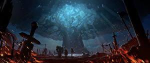 Обои World of WarCraft Воины Деревья Мечи Battle For Azeroth Фэнтези