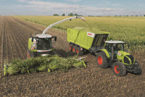Картинка Сельскохозяйственная техника Поля Трактор Claas Jaguar 980 Claas Axion 830