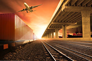 Фотография Самолеты Железные дороги Рассветы и закаты Авиация