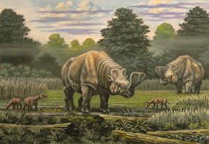 Фотографии Древние животные Динозавры Рисованные Embolotherium, Hyrachyus