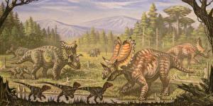 Фотографии Древние животные Динозавры Рисованные Utahceratops, Komoceratops, Dromaesaurus