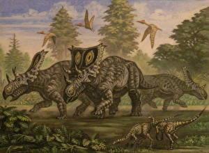 Картинка Древние животные Динозавры Рисованные Chasmosaurus, young Ornithomimus