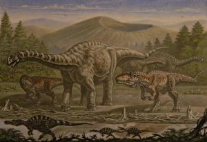 Картинки Древние животные Динозавры Рисованные Argentinosaurus, Giganotosaurus, Irritator