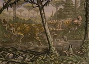 Картинки Древние животные Динозавры Рисованные Lambeosaurus, Daspletosaurus, Orodromeus