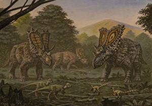 Картинки Древние животные Динозавры Рисованные Mojoceratops, Vagaceratops, Chasmosaurus