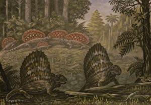 Фотографии Древние животные Динозавры Рисованные Edaphosaurus, Dimetrodon Животные