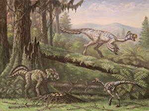 Фото Древние животные Динозавры Рисованные Conchoraptor, Bagaceratops, Mononykus