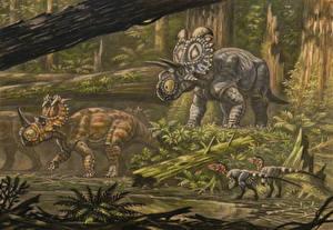 Фотография Древние животные Динозавры Рисованные Coronosaurus, Albertaceratop