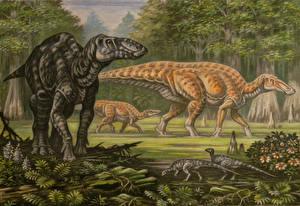 Картинка Древние животные Динозавры Рисованные Edmontosaurus regalis, E. annectens