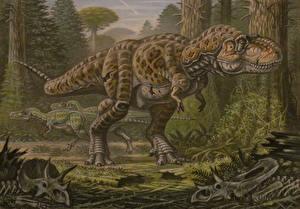 Картинка Древние животные Динозавры Рисованные Тираннозавр рекс Nanotyrannus lancensis