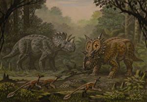 Фотографии Древние животные Динозавры Рисованные Wendiceratops, Xenoceratops, Saurornitholesthes Животные