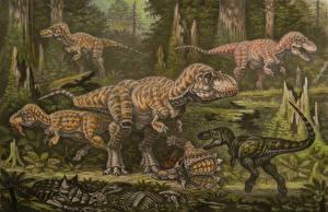 Фотографии Древние животные Динозавры Рисованные Tyrannosauroidea campanian tier Животные