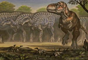 Фотография Древние животные Динозавры Рисованные Zhuchengtyrannus, Shantungosaurus
