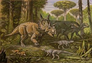 Фото Древние животные Динозавры Рисованные Xenoceratops