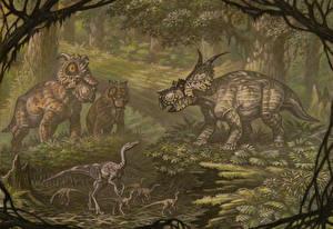 Обои Древние животные Динозавры Рисованные Pachyrhinosaurus, Achelousaurus, Dromiceiomimus