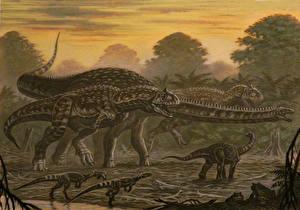 Фотографии Древние животные Динозавры Рисованные Majungasaurus, Masiakasaurus, Rapetosaurus