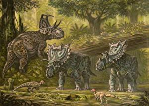Фотографии Древние животные Динозавры Рисованные Machairoceratops,Spiclypeus,Texacephale