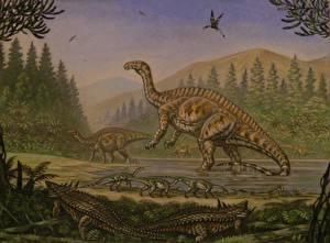 Фото Древние животные Динозавры Рисованные Lessemsaurus, Thecodontosaurus, Desmatosuchus