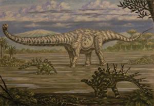Картинка Древние животные Динозавры Рисованные Mamenchisaurus, Chialingosaurus Животные