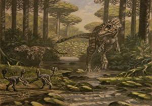 Фотографии Древние животные Динозавры Рисованные Alioramus, Nomingia